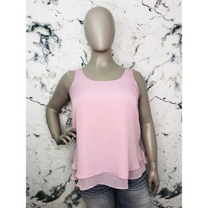 Cato Layered Tank Top Women Plus Size 14/16W Blush